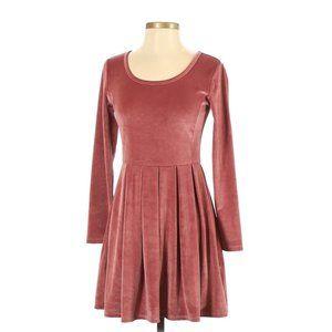 Talula pink velvet velour long sleeve dress, sz S